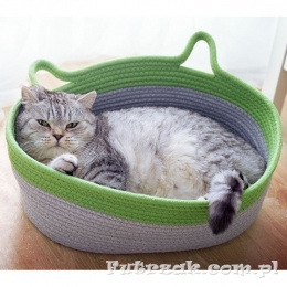 Oval Cat Bed Grey&Green